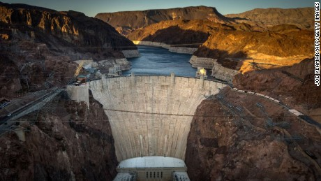 The Hoover Dam was built in the 1930s to create Lake Mead. The dam's generators provide power for public and private utilities in Nevada, Arizona, and California.