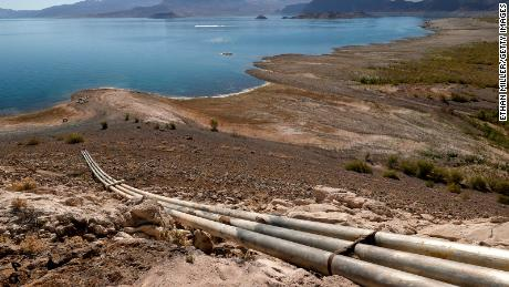 Pipes from an abandoned water intake tower are shown at Lake Mead on June 12, 2021.