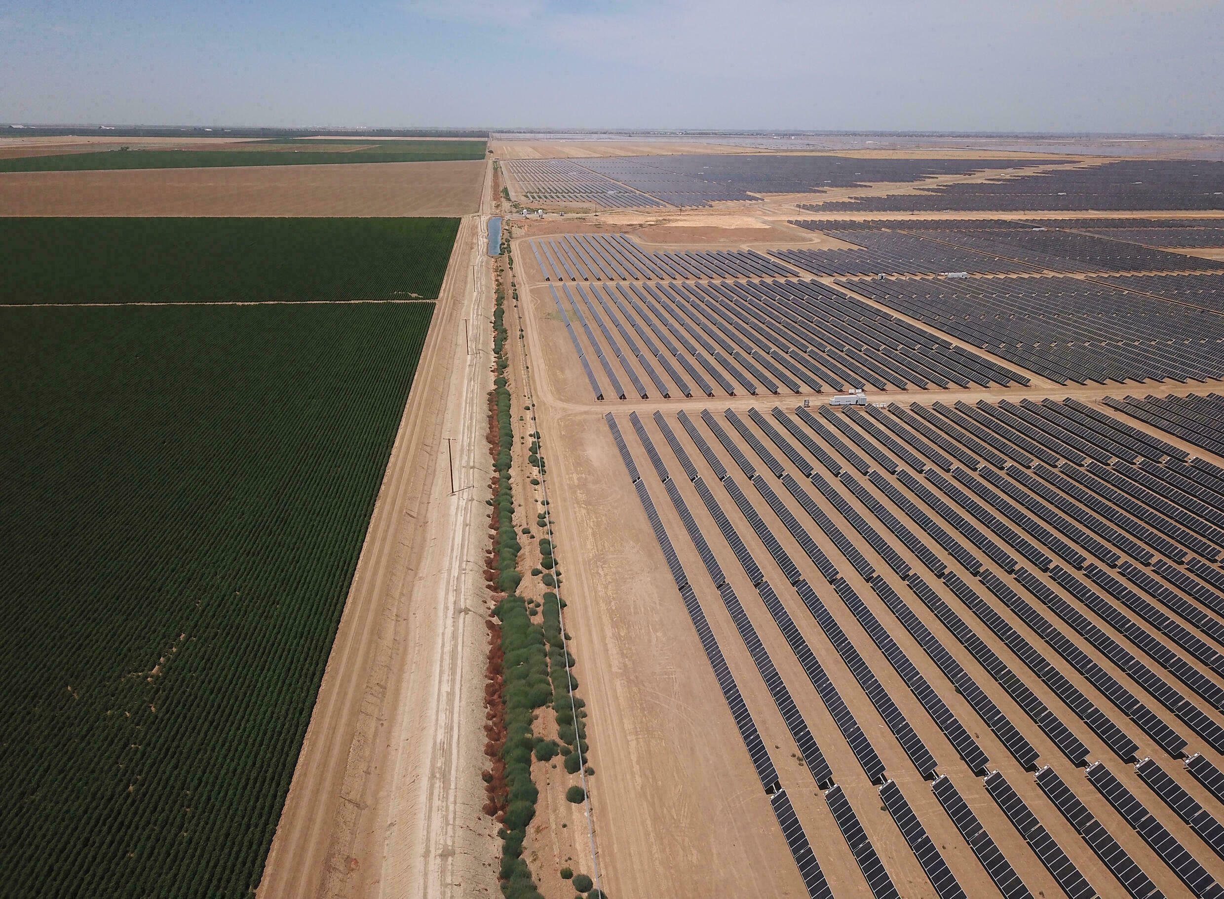 Endless rows of solar panels in what was once a farmfield in California's drought-stricken Central Valley