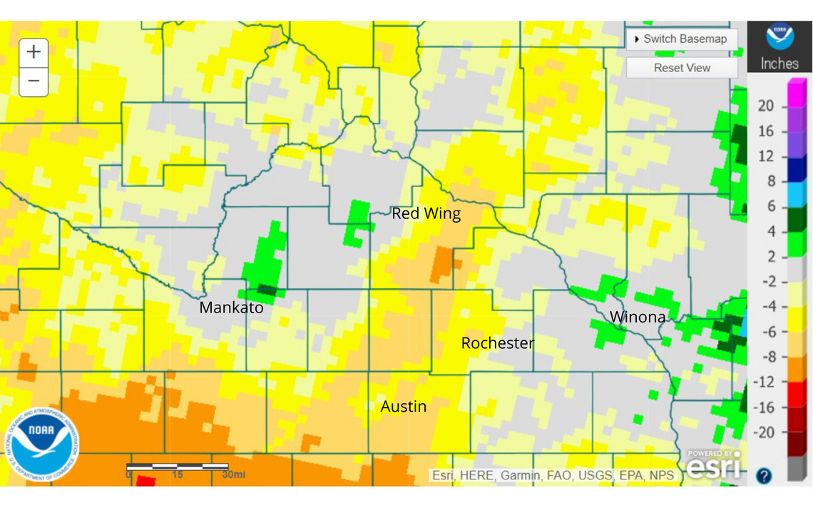 This map from the National Weather Service shows the precipitation deficit in Southeast Minnesota since Oct 1, 2020 through Aug. 4, 2021. Contributed / National Weather Service