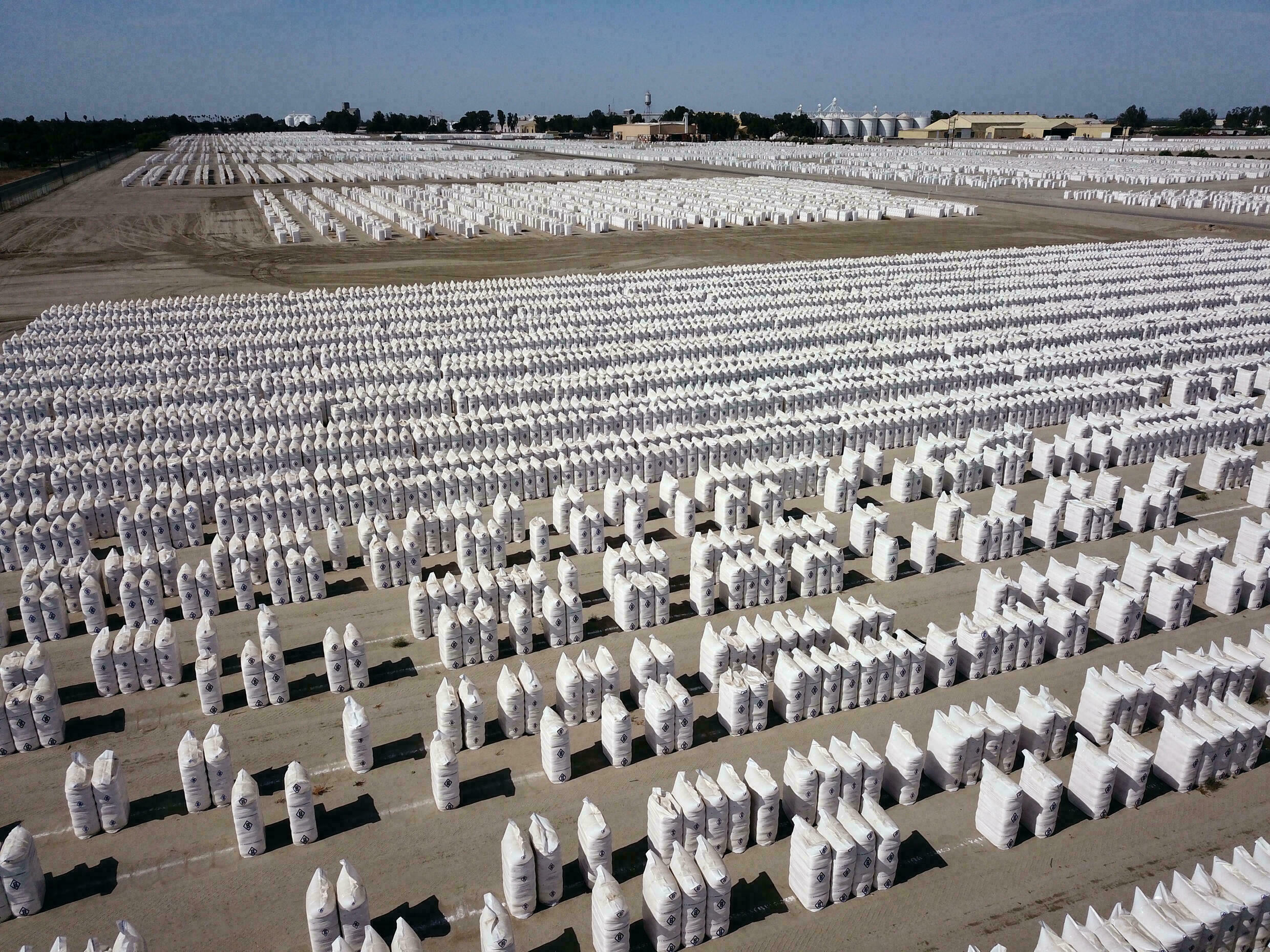 The Corcoran area is a major cotton producer; these thousands of bags of cotton belong to major US producer J.G. Boswell