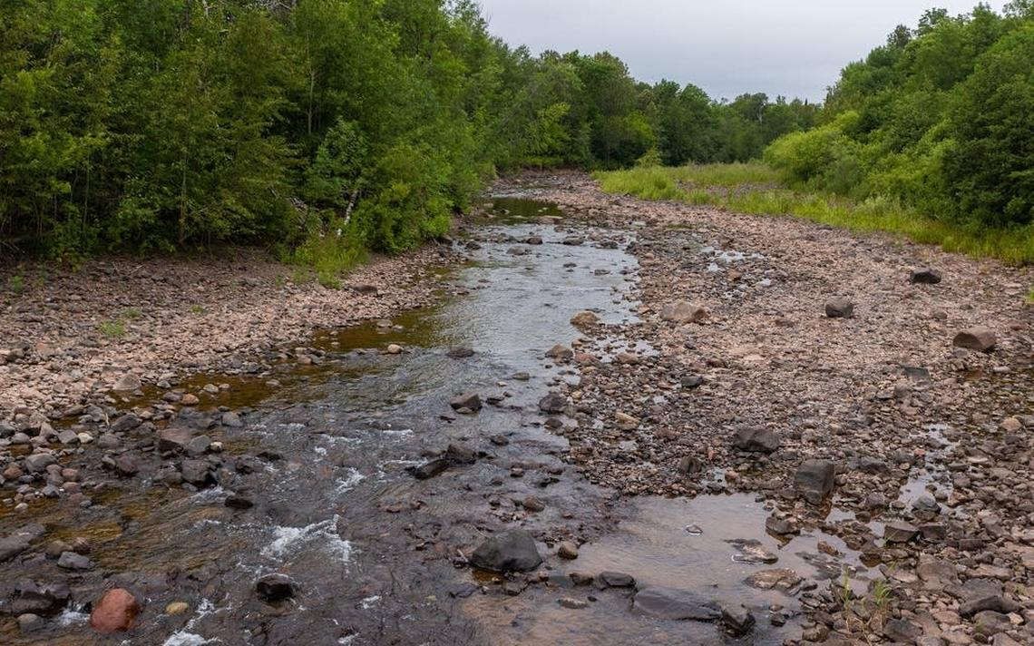 The drought-stricken Knife River near where it flows under Highway 61 on July 22. Forecasters say the best chance for rain won't come until later this week.  Derek Montgomery / MPR News