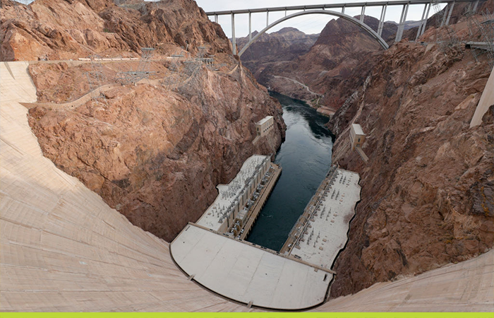 A view shows the Hoover Dam in the Lake Mead National Recreation Area, Nevada.