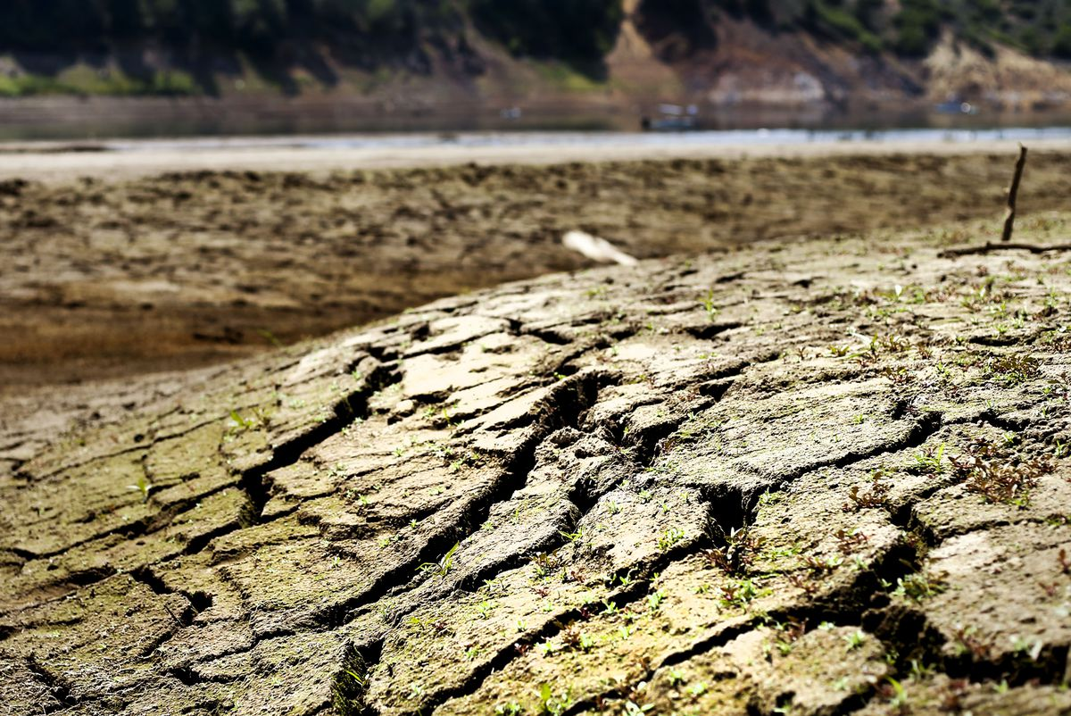 Cracked earth is seen in the waterbed of Jordanelle Reservoir near Kamas on Wednesday, Aug. 4, 2021. Utah's drought has forced the closure of the Rock Cliff and Ross Creek boat ramps at Jordanelle.