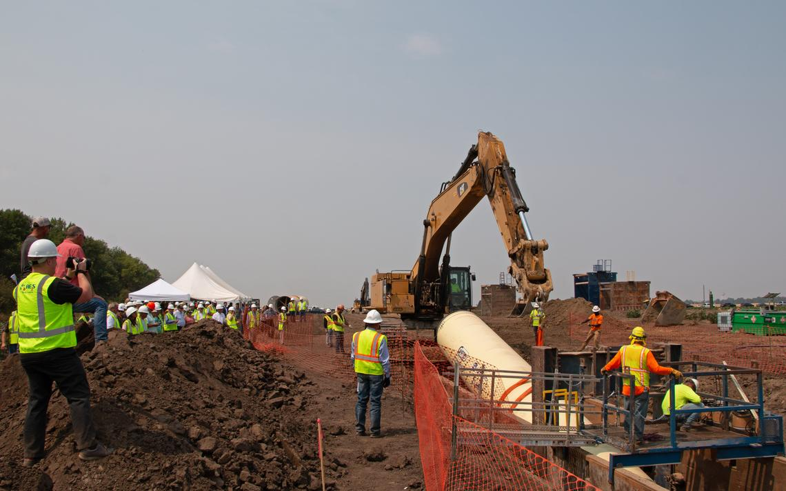 Construction crews lay a segment of pipeline near Carrington, N.D., for part of the Red River Water Supply Project on Tuesday, Aug. 3, 2021. Jeremy Turley / Forum News Service